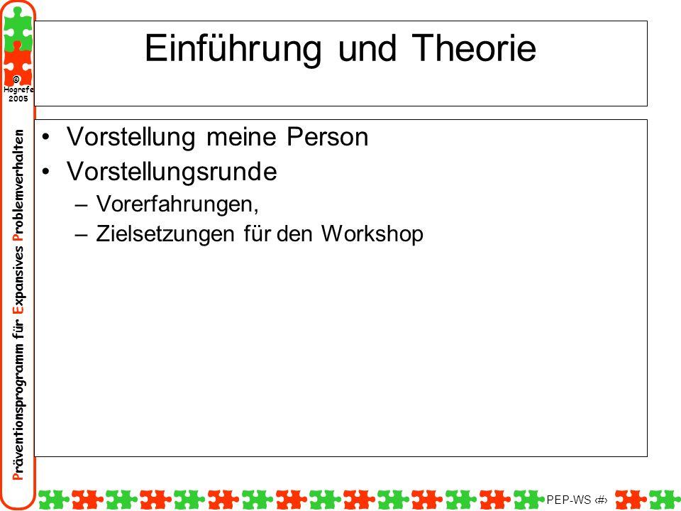 Präventionsprogramm für Expansives Problemverhalten Hogrefe 2005 © PEP-WS 2 Einführung und Theorie Vorstellung meine Person Vorstellungsrunde –Vorerfa