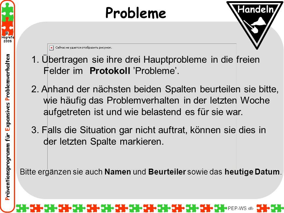 Präventionsprogramm für Expansives Problemverhalten Hogrefe 2005 © PEP-WS 22 1. Übertragen sie ihre drei Hauptprobleme in die freien Felder im Protoko