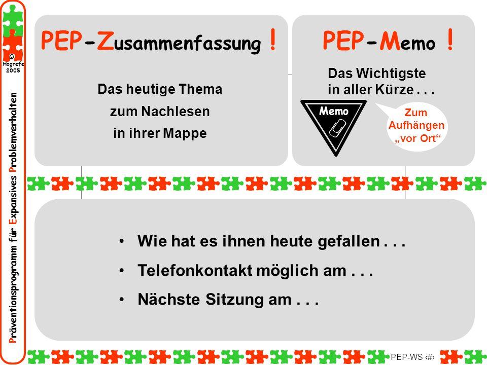 Präventionsprogramm für Expansives Problemverhalten Hogrefe 2005 © PEP-WS 30 Wie hat es ihnen heute gefallen... Telefonkontakt möglich am... Nächste S