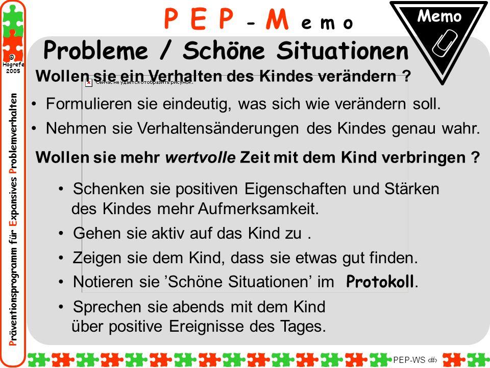 Präventionsprogramm für Expansives Problemverhalten Hogrefe 2005 © PEP-WS 31 Wollen sie ein Verhalten des Kindes verändern ? Formulieren sie eindeutig