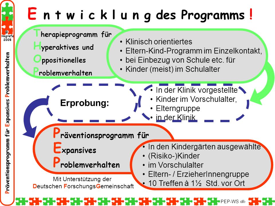 Präventionsprogramm für Expansives Problemverhalten Hogrefe 2005 © PEP-WS 135 1.Besprechen sie mit dem Kind das Spieltraining (was wird gespielt nach welchen Spielregeln & Verhaltensregeln).