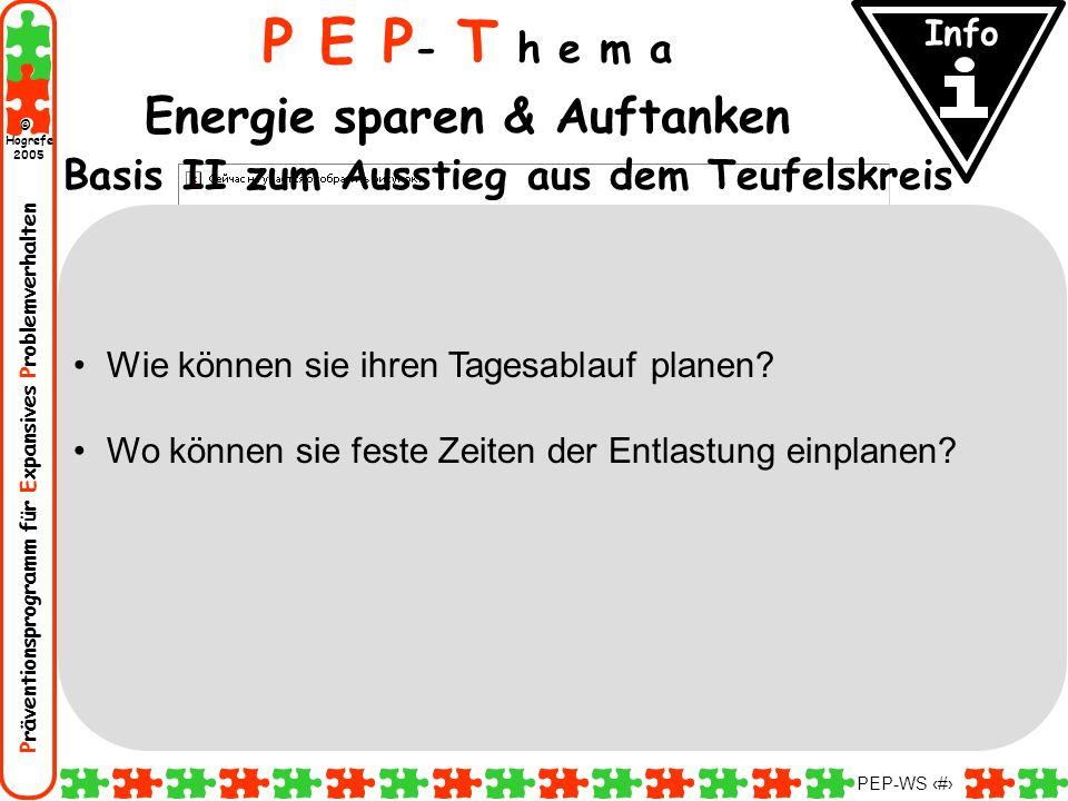 Präventionsprogramm für Expansives Problemverhalten Hogrefe 2005 © PEP-WS 52 P E P - T h e m a Energie sparen & Auftanken Basis II zum Ausstieg aus de