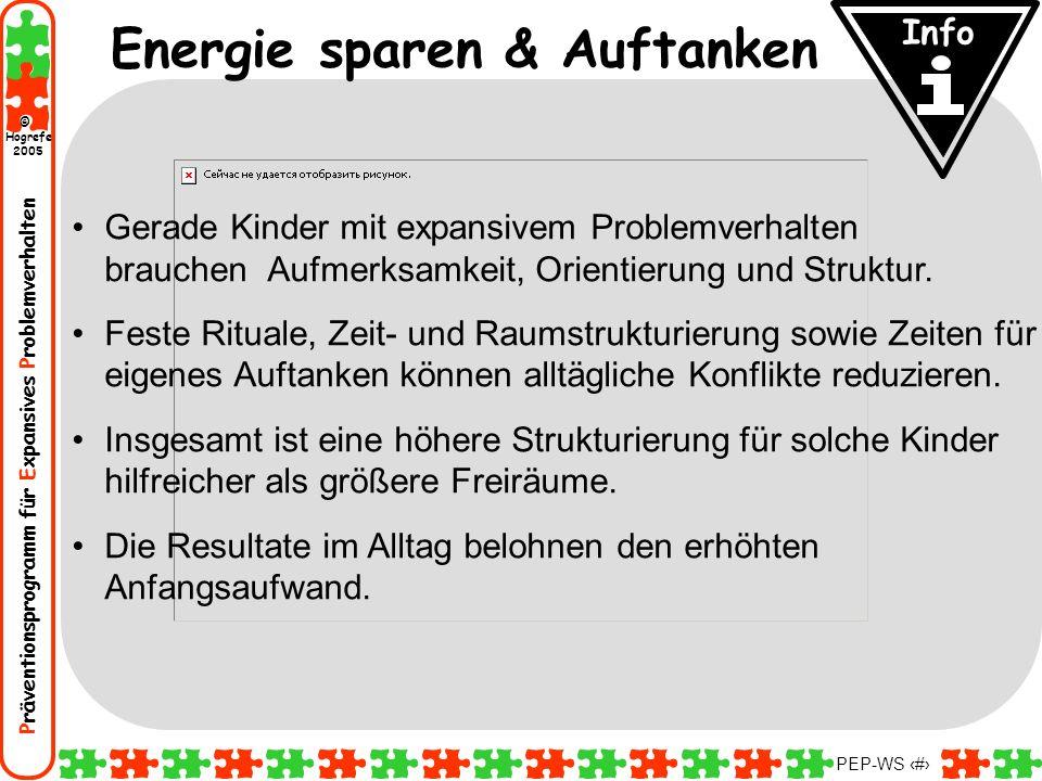 Präventionsprogramm für Expansives Problemverhalten Hogrefe 2005 © PEP-WS 53 Energie sparen & Auftanken Gerade Kinder mit expansivem Problemverhalten