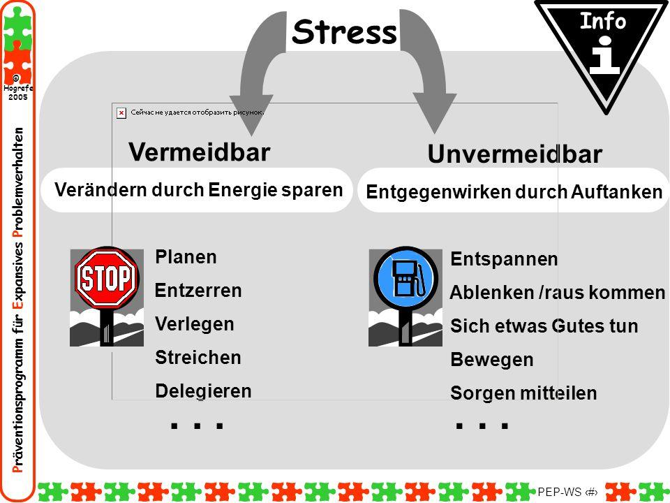 Präventionsprogramm für Expansives Problemverhalten Hogrefe 2005 © PEP-WS 58 Stress... Vermeidbar Verändern durch Energie sparen Planen Entzerren Verl