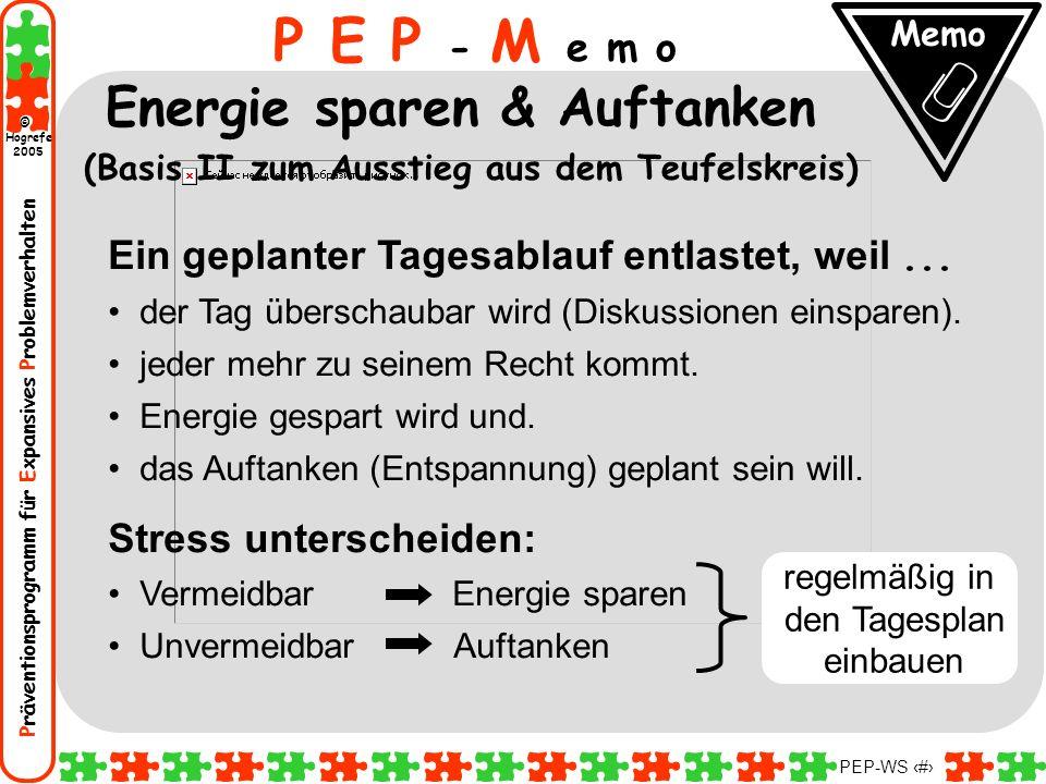 Präventionsprogramm für Expansives Problemverhalten Hogrefe 2005 © PEP-WS 60 Ein geplanter Tagesablauf entlastet, weil... der Tag überschaubar wird (D