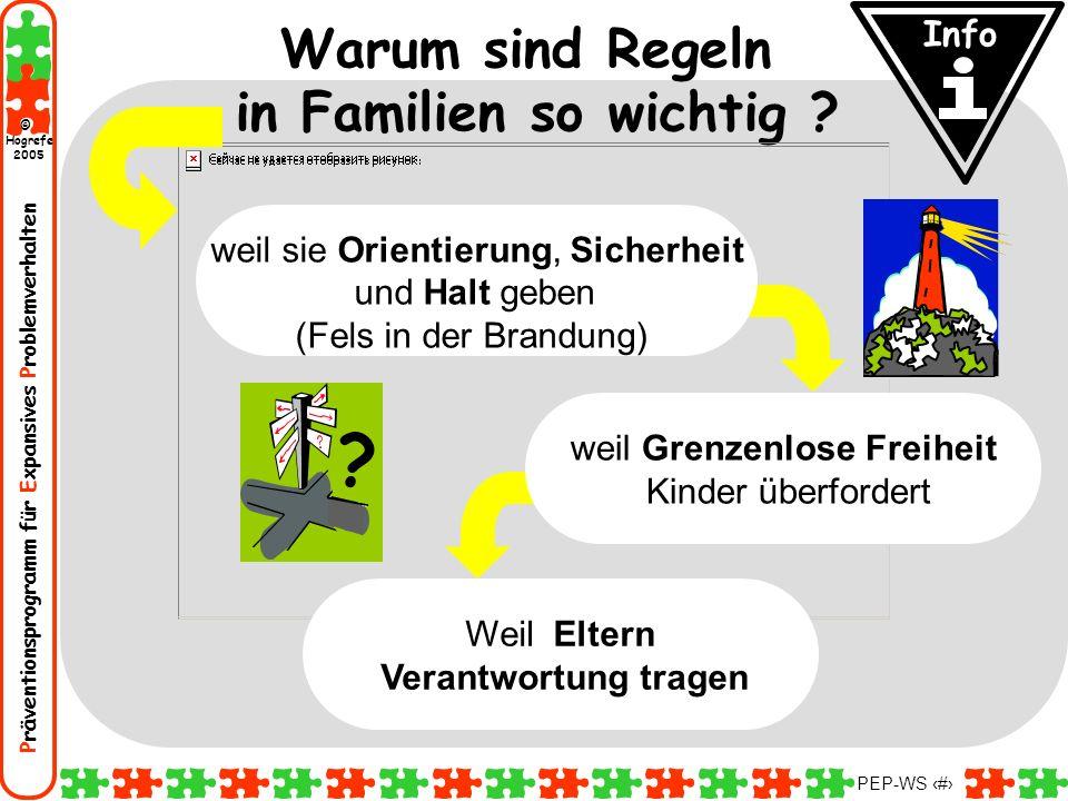 Präventionsprogramm für Expansives Problemverhalten Hogrefe 2005 © PEP-WS 68 Warum sind Regeln in Familien so wichtig ? Weil Eltern Verantwortung trag