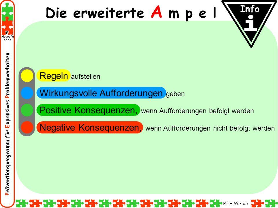 Präventionsprogramm für Expansives Problemverhalten Hogrefe 2005 © PEP-WS 83 Regeln aufstellen Wirkungsvolle Aufforderungen geben Positive Konsequenze