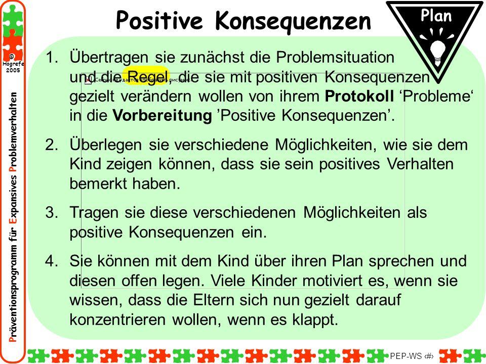 Präventionsprogramm für Expansives Problemverhalten Hogrefe 2005 © PEP-WS 90 Plan Positive Konsequenzen 1.Übertragen sie zunächst die Problemsituation