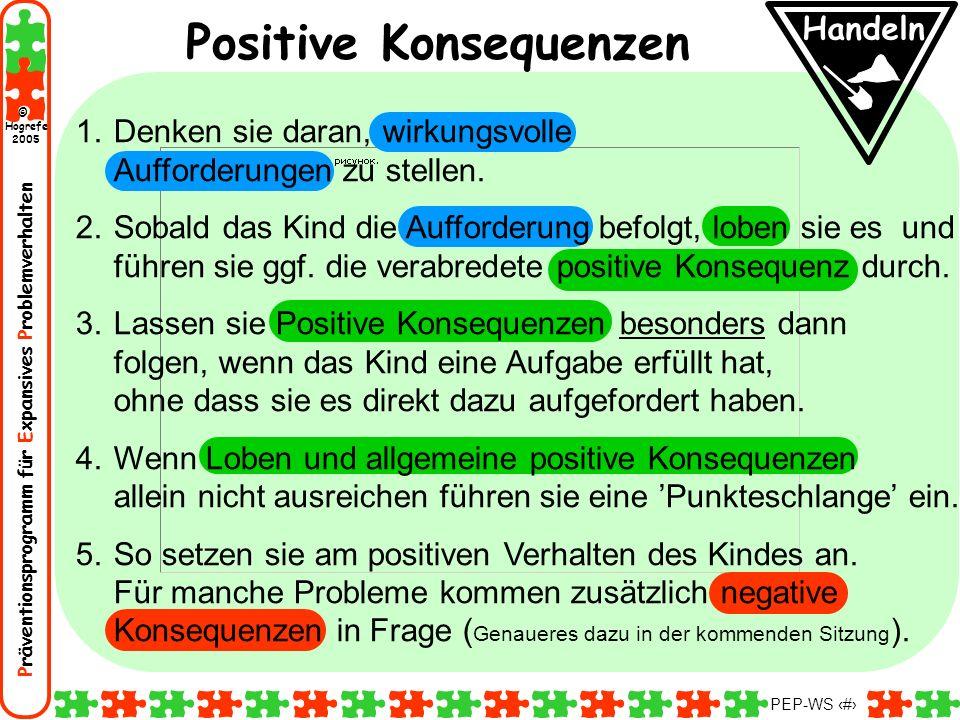 Präventionsprogramm für Expansives Problemverhalten Hogrefe 2005 © PEP-WS 91 Handeln Positive Konsequenzen 1.Denken sie daran, wirkungsvolle Aufforder
