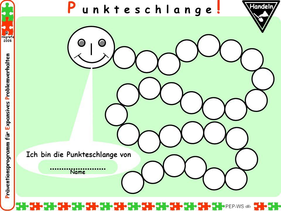 Präventionsprogramm für Expansives Problemverhalten Hogrefe 2005 © PEP-WS 97 P u n k t e s c h l a n g e ! Ich bin die Punkteschlange von.............