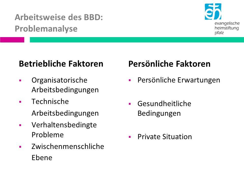 Arbeitsweise des BBD: Problemanalyse Betriebliche Faktoren Organisatorische Arbeitsbedingungen Technische Arbeitsbedingungen Verhaltensbedingte Probleme Zwischenmenschliche Ebene Persönliche Faktoren Persönliche Erwartungen Gesundheitliche Bedingungen Private Situation