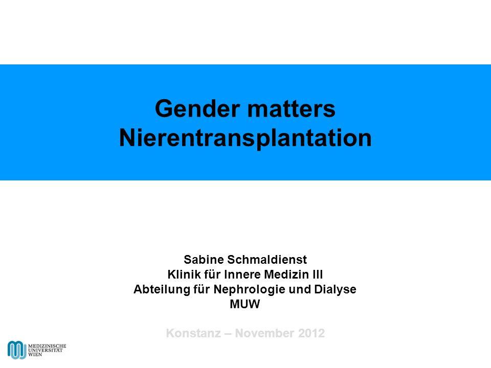 Gender matters Nierentransplantation Sabine Schmaldienst Klinik für Innere Medizin III Abteilung für Nephrologie und Dialyse MUW Konstanz – November 2012