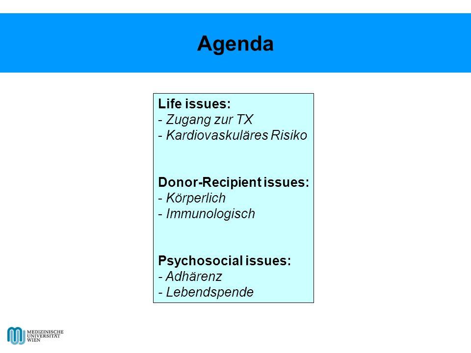 Life issues: - Zugang zur TX - Kardiovaskuläres Risiko Donor-Recipient issues: - Körperlich - Immunologisch Psychosocial issues: - Adhärenz - Lebendspende Agenda