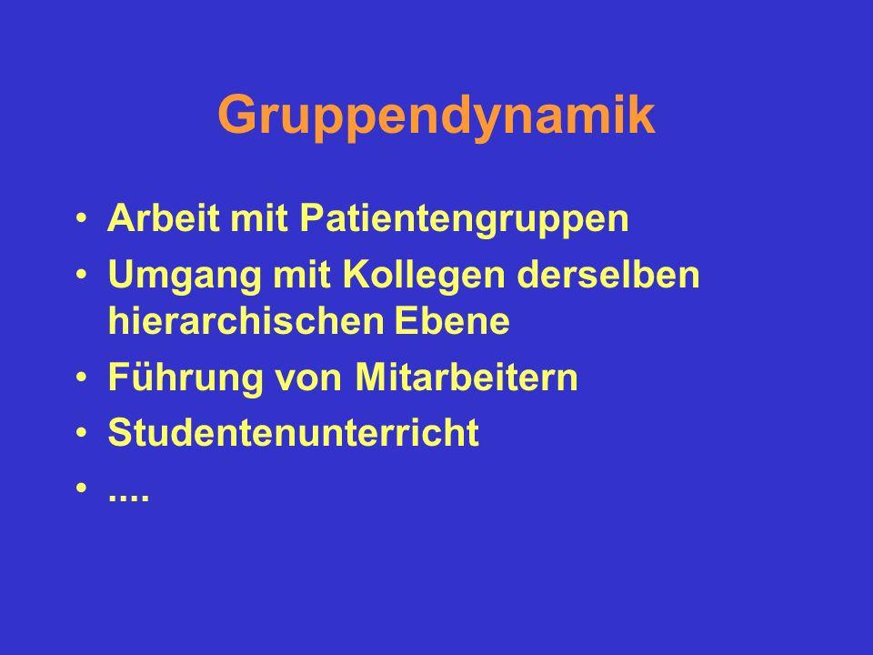 Gruppendynamik Arbeit mit Patientengruppen Umgang mit Kollegen derselben hierarchischen Ebene Führung von Mitarbeitern Studentenunterricht....