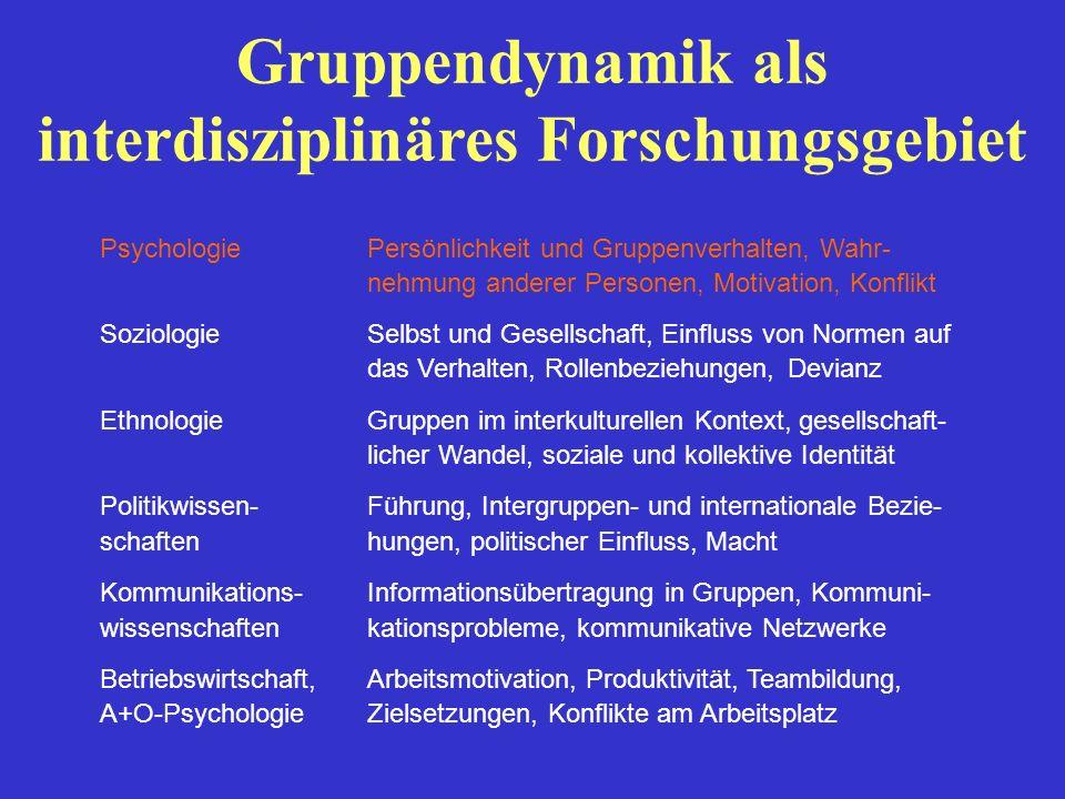 Gruppendynamik als interdisziplinäres Forschungsgebiet PsychologiePersönlichkeit und Gruppenverhalten, Wahr- nehmung anderer Personen, Motivation, Kon