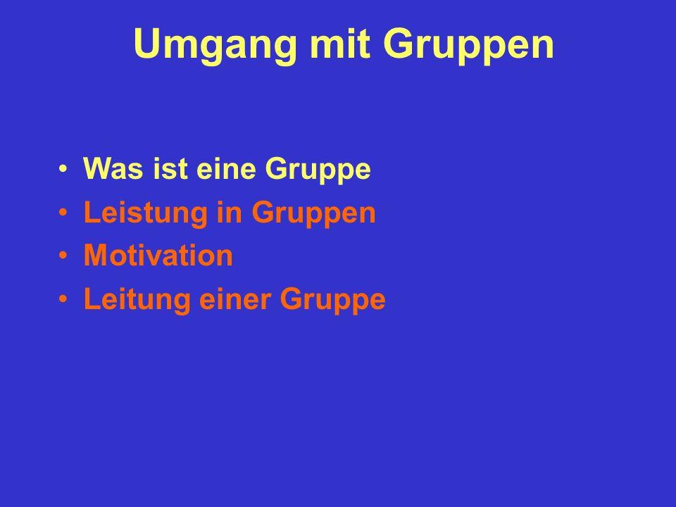 Was ist eine Gruppe Leistung in Gruppen Motivation Leitung einer Gruppe Umgang mit Gruppen