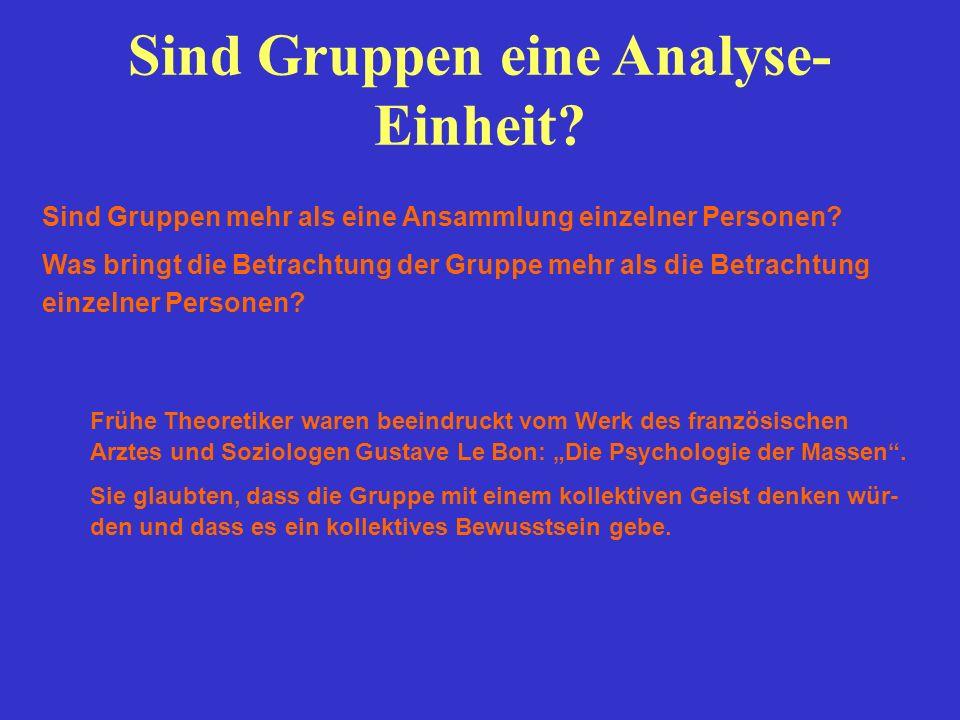 Sind Gruppen eine Analyse- Einheit? Frühe Theoretiker waren beeindruckt vom Werk des französischen Arztes und Soziologen Gustave Le Bon: Die Psycholog