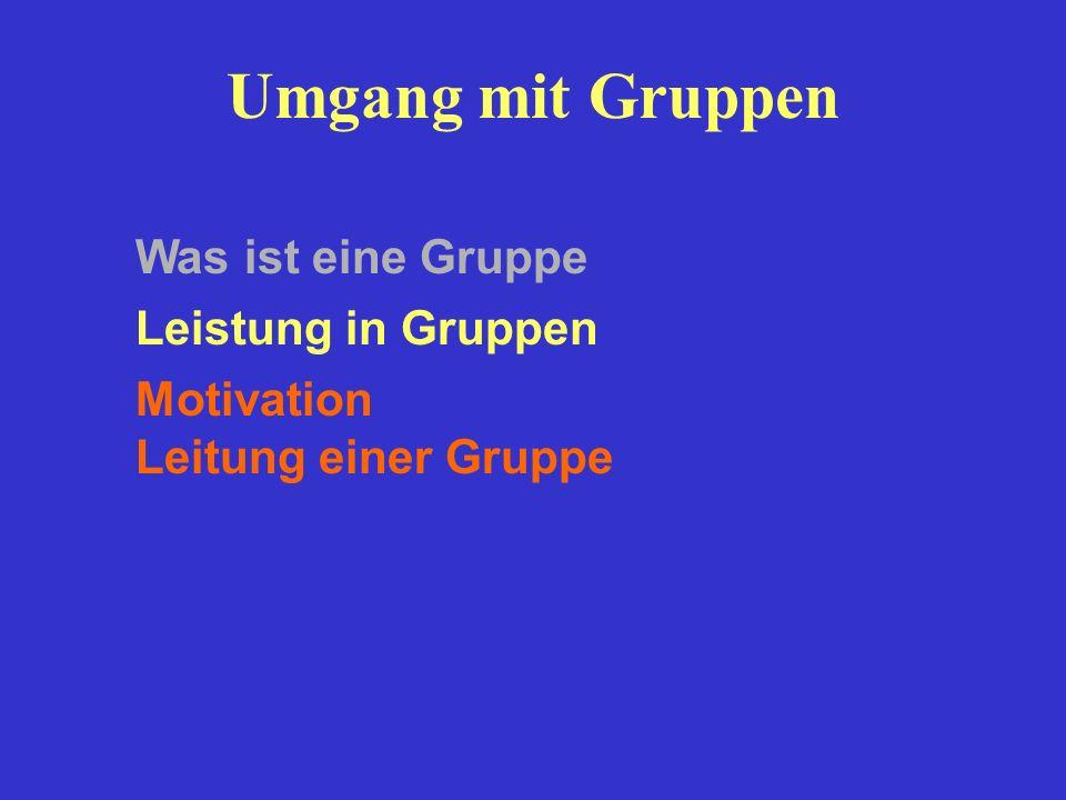 Umgang mit Gruppen Leistung in Gruppen Motivation Leitung einer Gruppe Was ist eine Gruppe