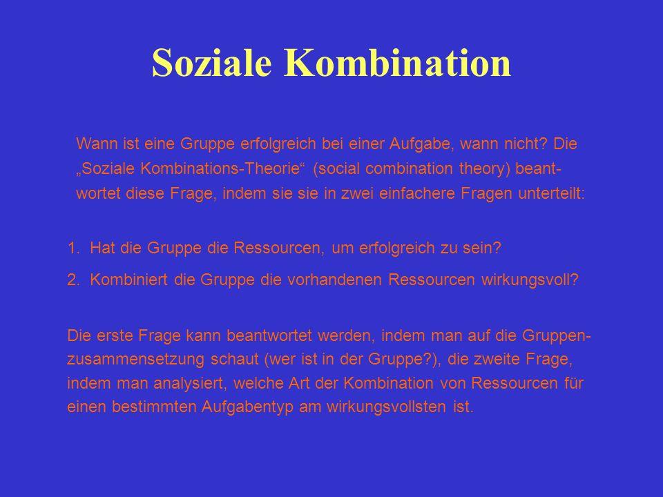 Wann ist eine Gruppe erfolgreich bei einer Aufgabe, wann nicht? Die Soziale Kombinations-Theorie (social combination theory) beant- wortet diese Frage