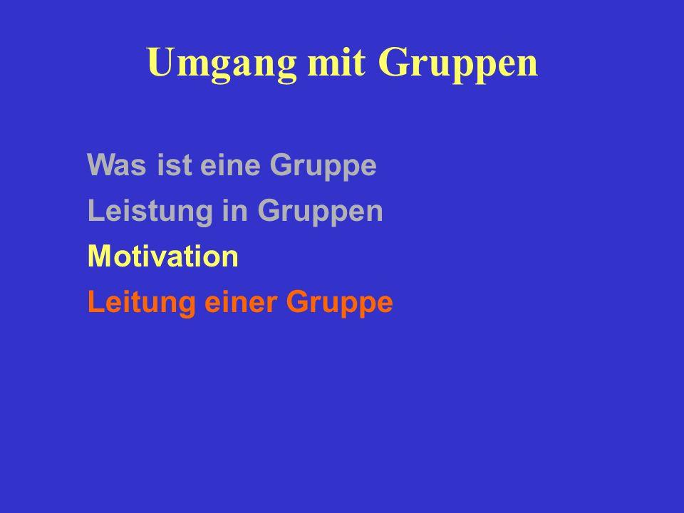 Umgang mit Gruppen Leistung in Gruppen Motivation Was ist eine Gruppe Leitung einer Gruppe