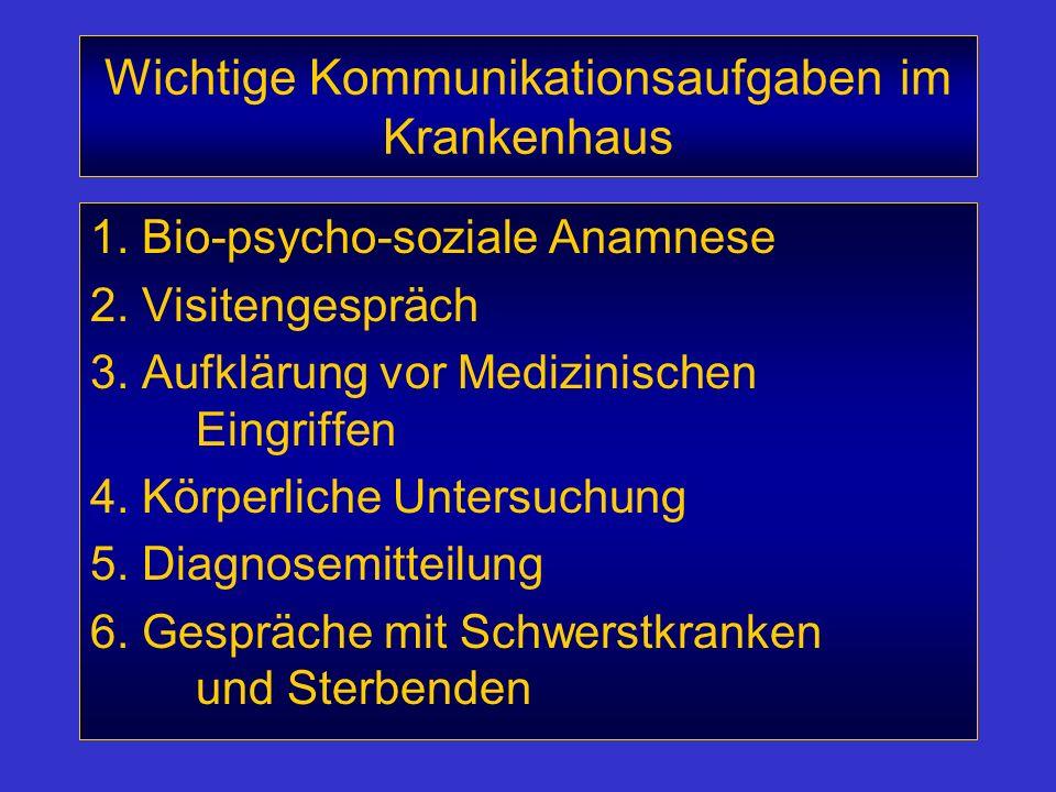 Wichtige Kommunikationsaufgaben im Krankenhaus 1. Bio-psycho-soziale Anamnese 2. Visitengespräch 3. Aufklärung vor Medizinischen Eingriffen 4. Körperl