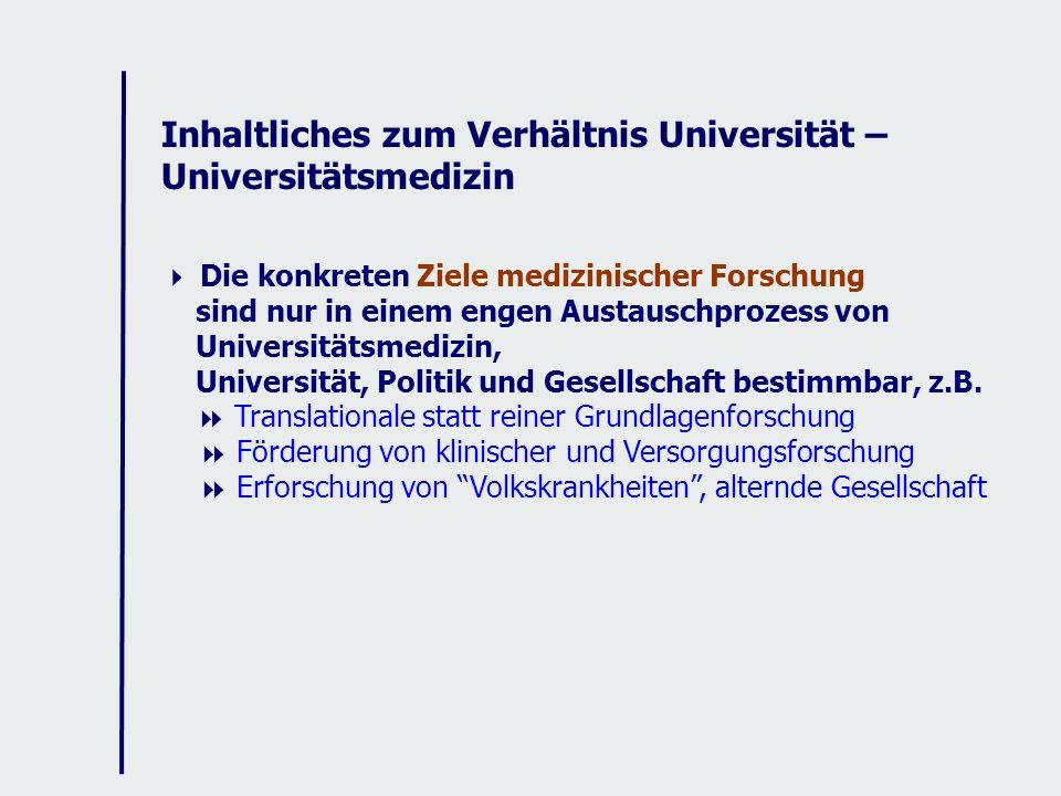 Inhaltliches zum Verhältnis Universität – Universitätsmedizin Die konkreten Ziele medizinischer Forschung sind nur in einem engen Austauschprozess von Universitätsmedizin, Universität, Politik und Gesellschaft bestimmbar, z.B.