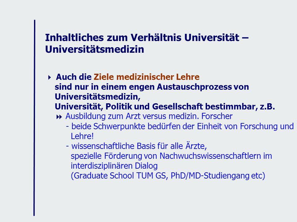 Inhaltliches zum Verhältnis Universität – Universitätsmedizin Auch die Ziele medizinischer Lehre sind nur in einem engen Austauschprozess von Universitätsmedizin, Universität, Politik und Gesellschaft bestimmbar, z.B.