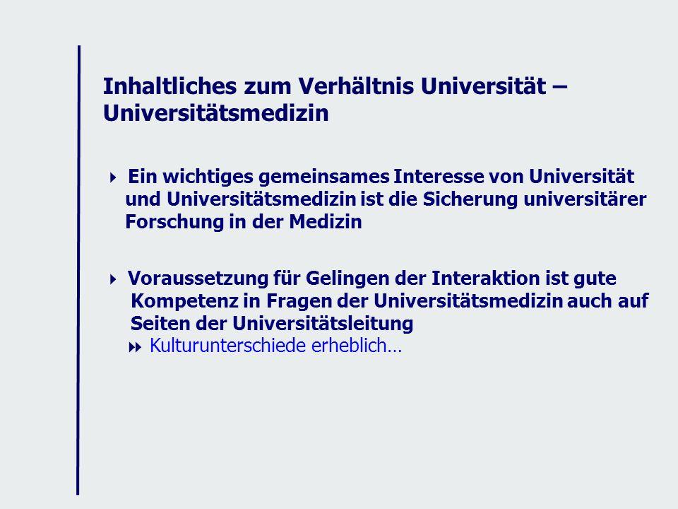 Inhaltliches zum Verhältnis Universität – Universitätsmedizin Ein wichtiges gemeinsames Interesse von Universität und Universitätsmedizin ist die Sicherung universitärer Forschung in der Medizin Voraussetzung für Gelingen der Interaktion ist gute Kompetenz in Fragen der Universitätsmedizin auch auf Seiten der Universitätsleitung Kulturunterschiede erheblich…