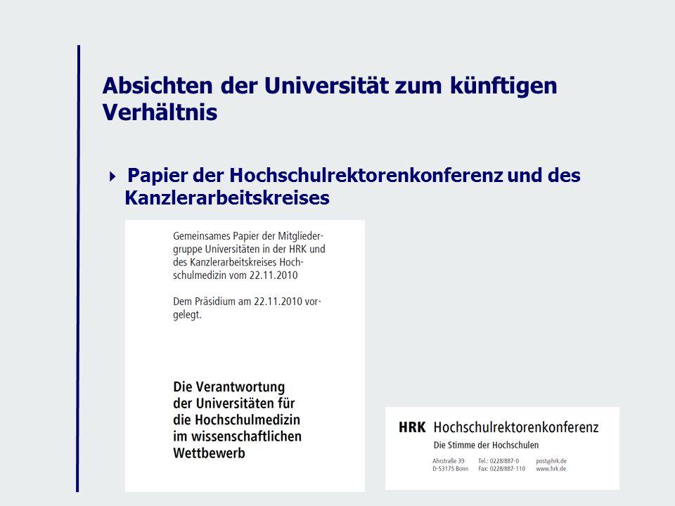 Absichten der Universität zum künftigen Verhältnis Papier der Hochschulrektorenkonferenz und des Kanzlerarbeitskreises
