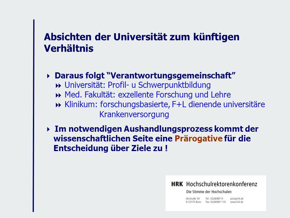 Absichten der Universität zum künftigen Verhältnis Daraus folgt Verantwortungsgemeinschaft Universität: Profil- u Schwerpunktbildung Med.