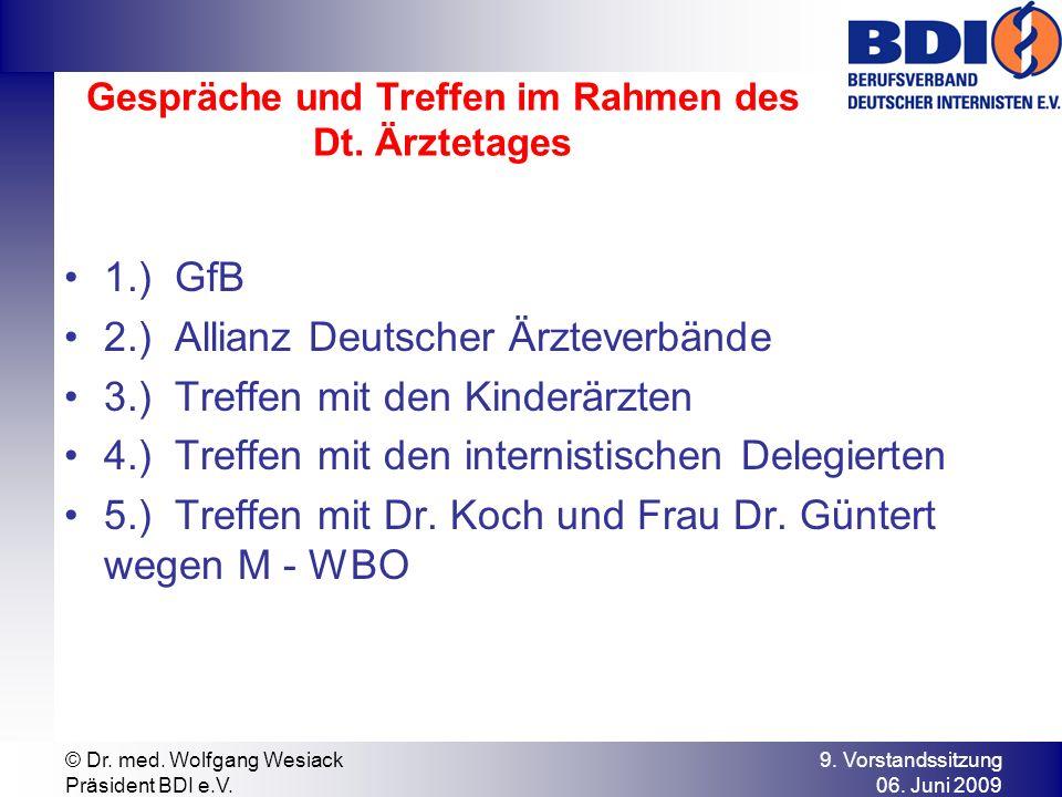 9. Vorstandssitzung 06. Juni 2009 © Dr. med. Wolfgang Wesiack Präsident BDI e.V. Gespräche und Treffen im Rahmen des Dt. Ärztetages 1.) GfB 2.) Allian