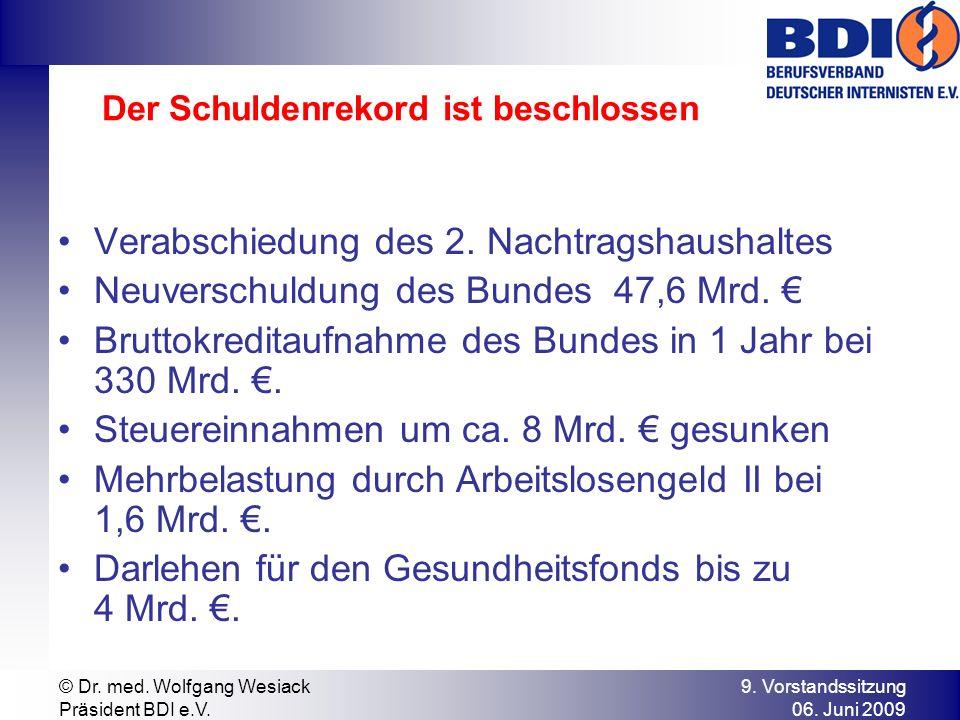 9. Vorstandssitzung 06. Juni 2009 © Dr. med. Wolfgang Wesiack Präsident BDI e.V. Der Schuldenrekord ist beschlossen Verabschiedung des 2. Nachtragshau