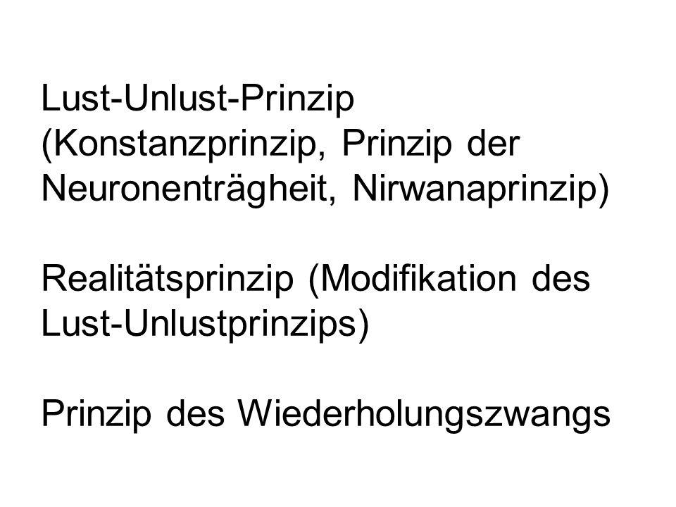 Lust-Unlust-Prinzip (Konstanzprinzip, Prinzip der Neuronenträgheit, Nirwanaprinzip) Realitätsprinzip (Modifikation des Lust-Unlustprinzips) Prinzip de