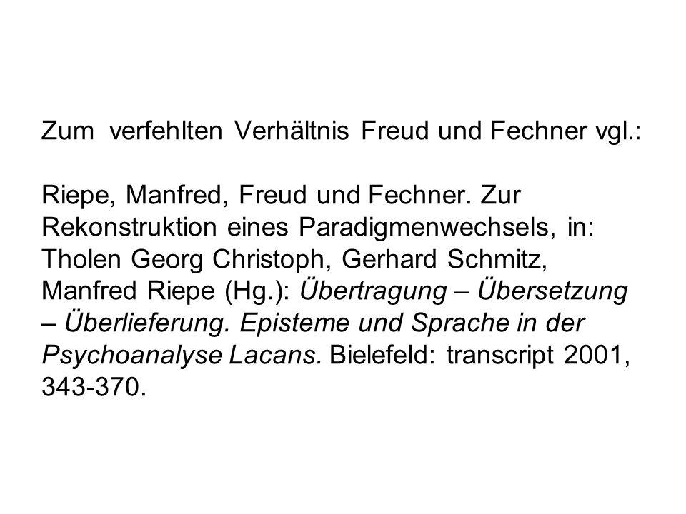 Zum verfehlten Verhältnis Freud und Fechner vgl.: Riepe, Manfred, Freud und Fechner. Zur Rekonstruktion eines Paradigmenwechsels, in: Tholen Georg Chr