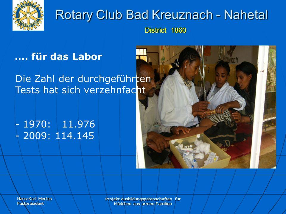 Hans-Karl Mertes Pastpräsident Projekt Ausbildungspatenschaften für Mädchen aus armen Familien Rotary Club Bad Kreuznach - Nahetal District 1860 Rotary Club Bad Kreuznach - Nahetal District 1860 ….