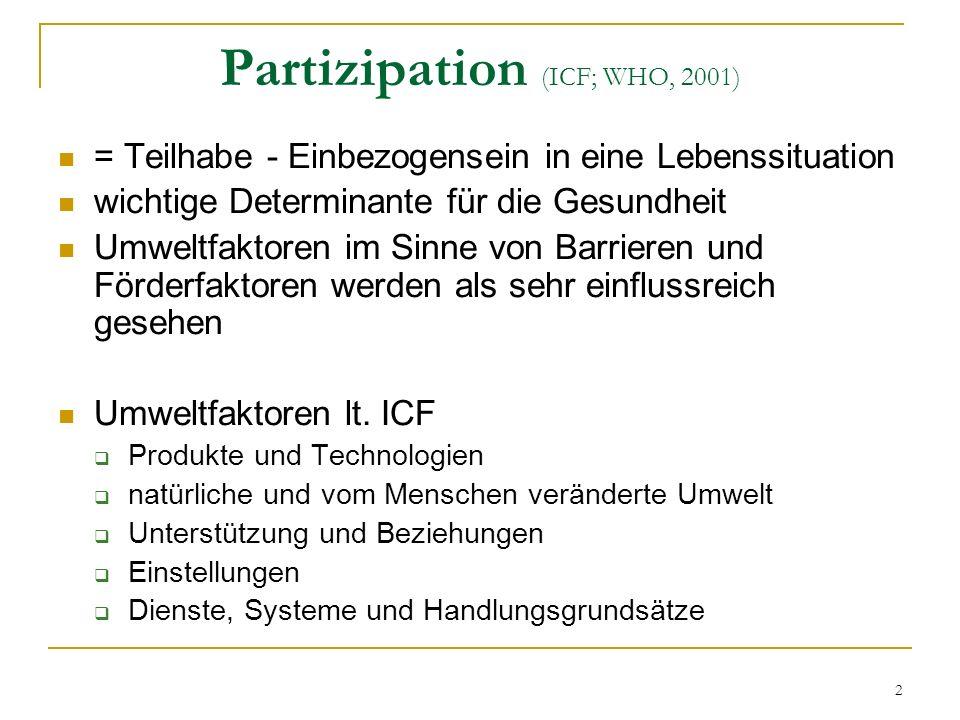 2 Partizipation (ICF; WHO, 2001) = Teilhabe - Einbezogensein in eine Lebenssituation wichtige Determinante für die Gesundheit Umweltfaktoren im Sinne