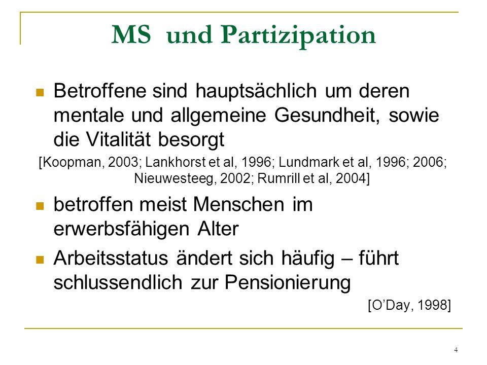 4 MS und Partizipation Betroffene sind hauptsächlich um deren mentale und allgemeine Gesundheit, sowie die Vitalität besorgt [Koopman, 2003; Lankhorst
