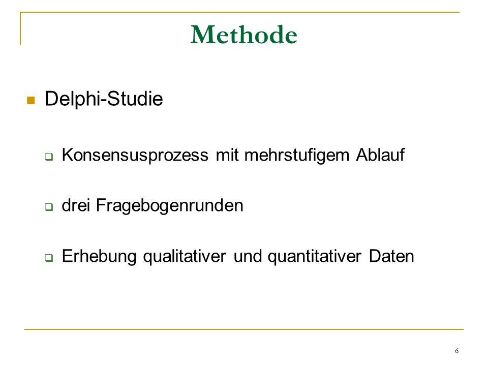 6 Methode Delphi-Studie Konsensusprozess mit mehrstufigem Ablauf drei Fragebogenrunden Erhebung qualitativer und quantitativer Daten
