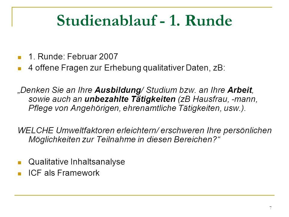 7 Studienablauf - 1. Runde 1. Runde: Februar 2007 4 offene Fragen zur Erhebung qualitativer Daten, zB: Denken Sie an Ihre Ausbildung/ Studium bzw. an