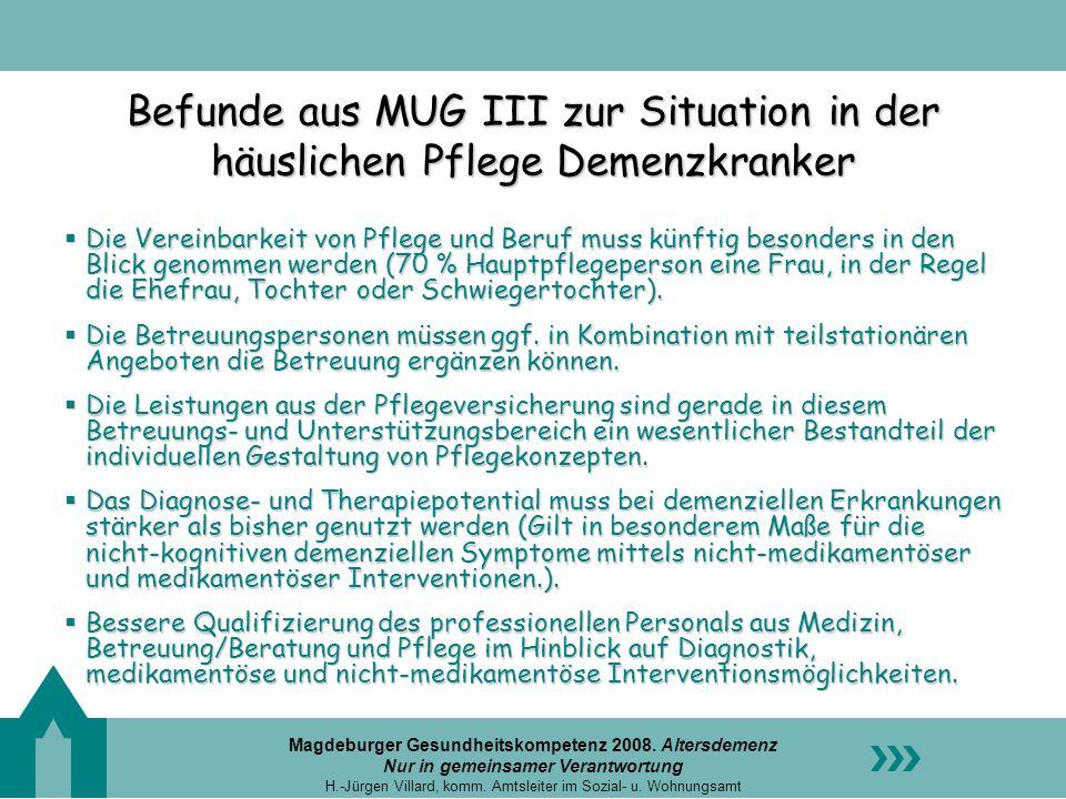 Magdeburger Gesundheitskompetenz 2008. Altersdemenz Nur in gemeinsamer Verantwortung H.-Jürgen Villard, komm. Amtsleiter im Sozial- u. Wohnungsamt Bef