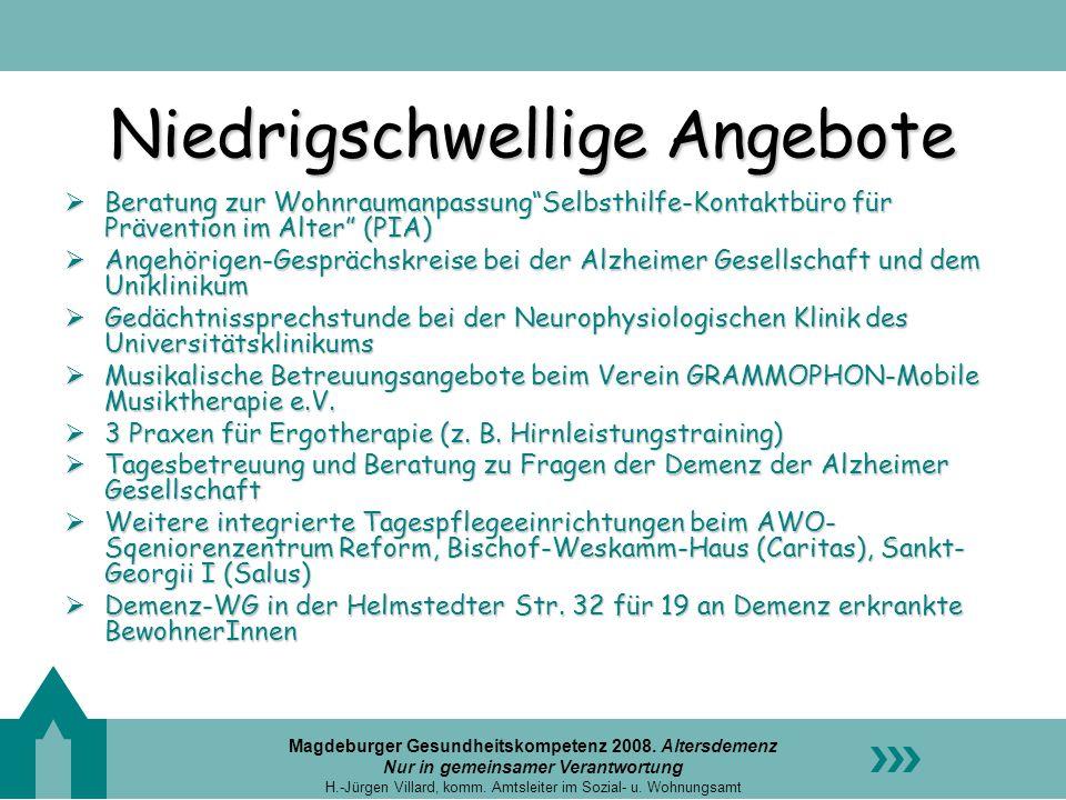 Magdeburger Gesundheitskompetenz 2008. Altersdemenz Nur in gemeinsamer Verantwortung H.-Jürgen Villard, komm. Amtsleiter im Sozial- u. Wohnungsamt Nie