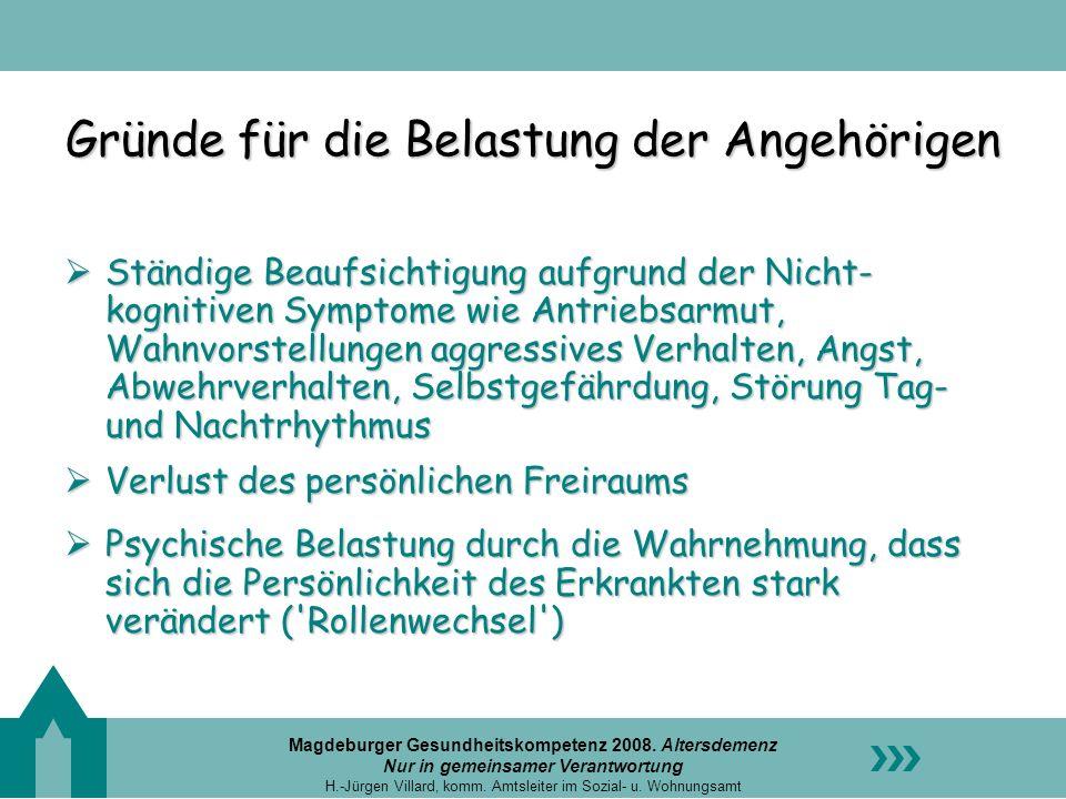 Magdeburger Gesundheitskompetenz 2008. Altersdemenz Nur in gemeinsamer Verantwortung H.-Jürgen Villard, komm. Amtsleiter im Sozial- u. Wohnungsamt Grü