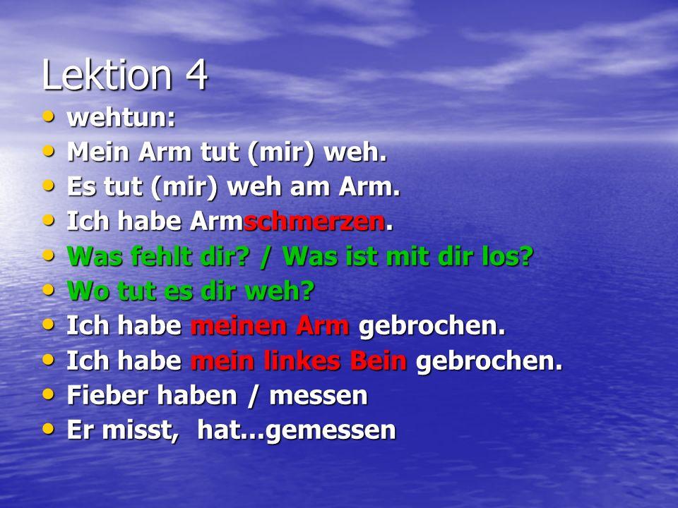 Lektion 4 wehtun: wehtun: Mein Arm tut (mir) weh. Mein Arm tut (mir) weh. Es tut (mir) weh am Arm. Es tut (mir) weh am Arm. Ich habe Armschmerzen. Ich