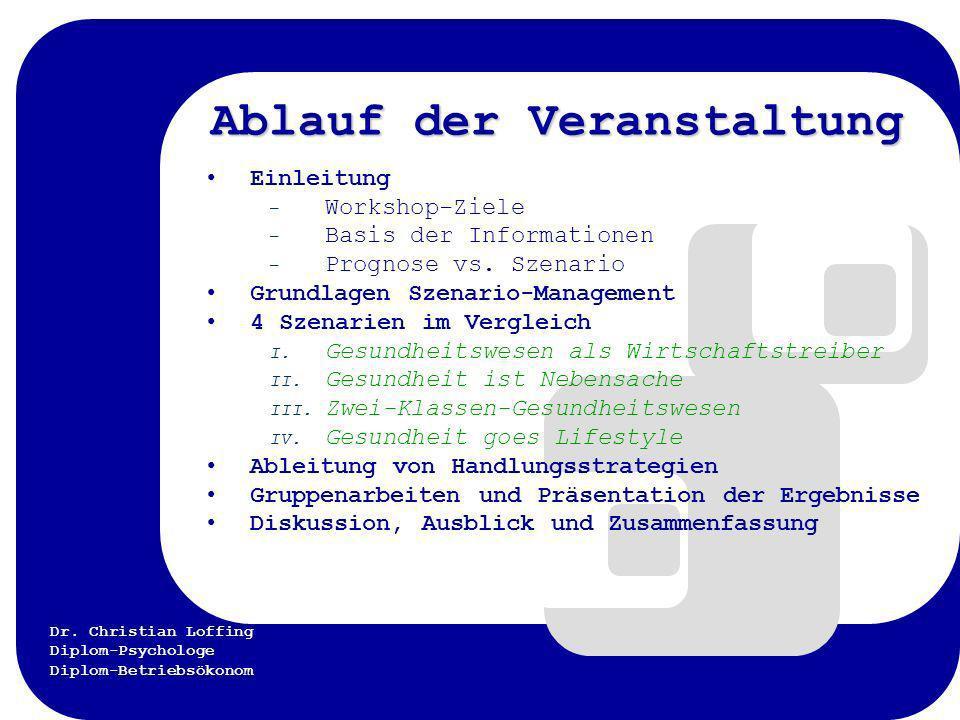 Dr. Christian Loffing Diplom-Psychologe Diplom-Betriebsökonom Ablauf der Veranstaltung Einleitung – Workshop-Ziele – Basis der Informationen – Prognos