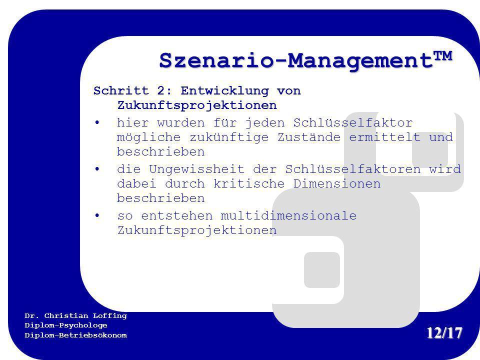 Dr. Christian Loffing Diplom-Psychologe Diplom-Betriebsökonom Szenario-Management TM Schritt 2: Entwicklung von Zukunftsprojektionen hier wurden für j
