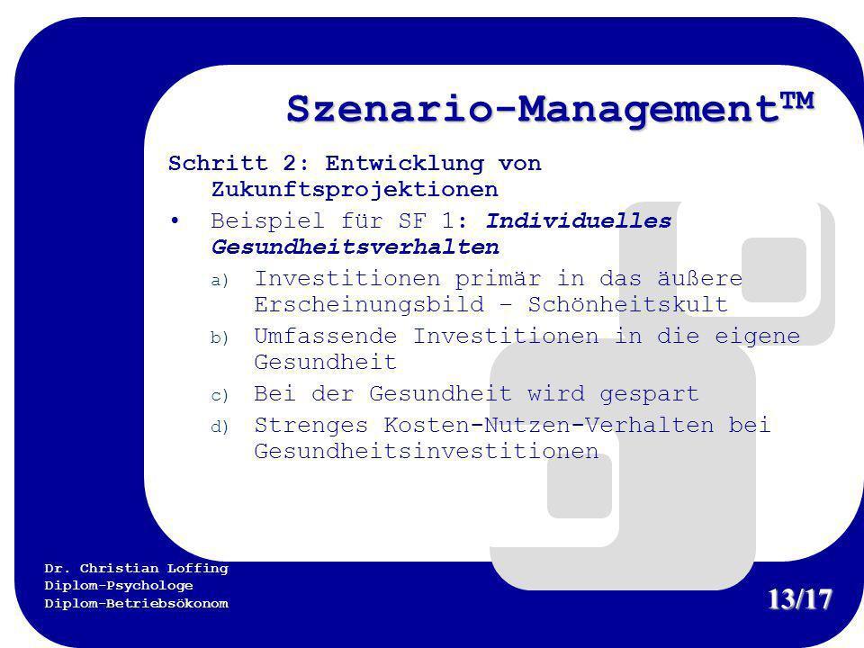 Dr. Christian Loffing Diplom-Psychologe Diplom-Betriebsökonom Szenario-Management TM Schritt 2: Entwicklung von Zukunftsprojektionen Beispiel für SF 1