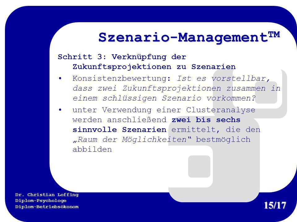 Dr. Christian Loffing Diplom-Psychologe Diplom-Betriebsökonom Szenario-Management TM Schritt 3: Verknüpfung der Zukunftsprojektionen zu Szenarien Kons