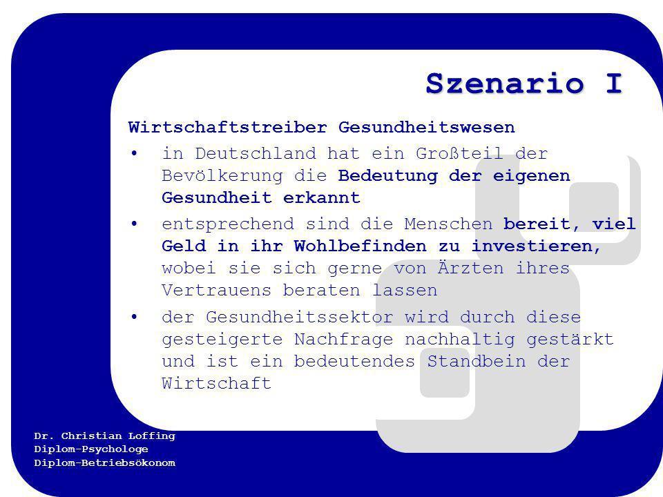 Dr. Christian Loffing Diplom-Psychologe Diplom-Betriebsökonom Szenario I Wirtschaftstreiber Gesundheitswesen in Deutschland hat ein Großteil der Bevöl