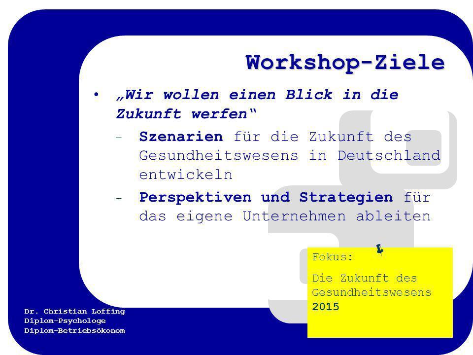 Dr. Christian Loffing Diplom-Psychologe Diplom-Betriebsökonom Workshop-Ziele Wir wollen einen Blick in die Zukunft werfen – Szenarien für die Zukunft