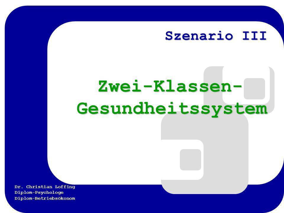 Dr. Christian Loffing Diplom-Psychologe Diplom-Betriebsökonom Szenario III Zwei-Klassen- Gesundheitssystem Zwei-Klassen- Gesundheitssystem